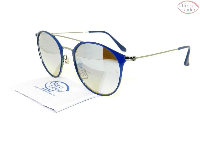 Ray-Ban RB3546 9010/9u 52 Round Metal Azul / Prata Espelhado