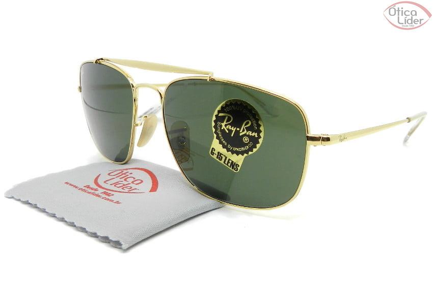 Ray-Ban The Colonel RB3560 001 58 Metal Dourado Lente Verde G15
