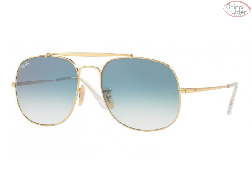 f7f842abf46db Ray-Ban RB 3561 001 3f 57 General Metal Dourado Azul Degradê - 12x ...