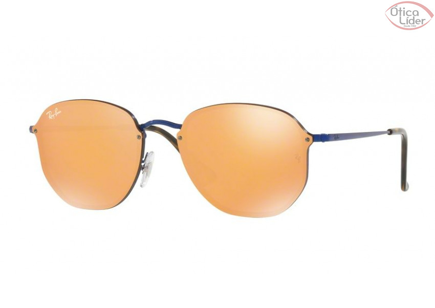 efd1ab1b7 Ray-Ban RB 3579n 9038/7j 58 Blaze Metal Azul Espelhado Dourado - 12x ...