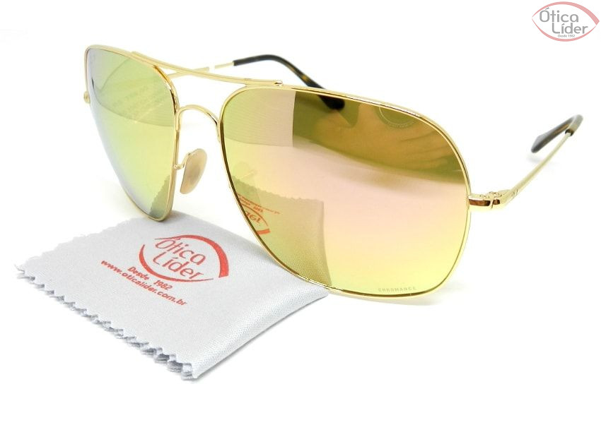 Ray-Ban RB3587ch 001/i0 61 Chromance Metal Dourado Espelhado 3p