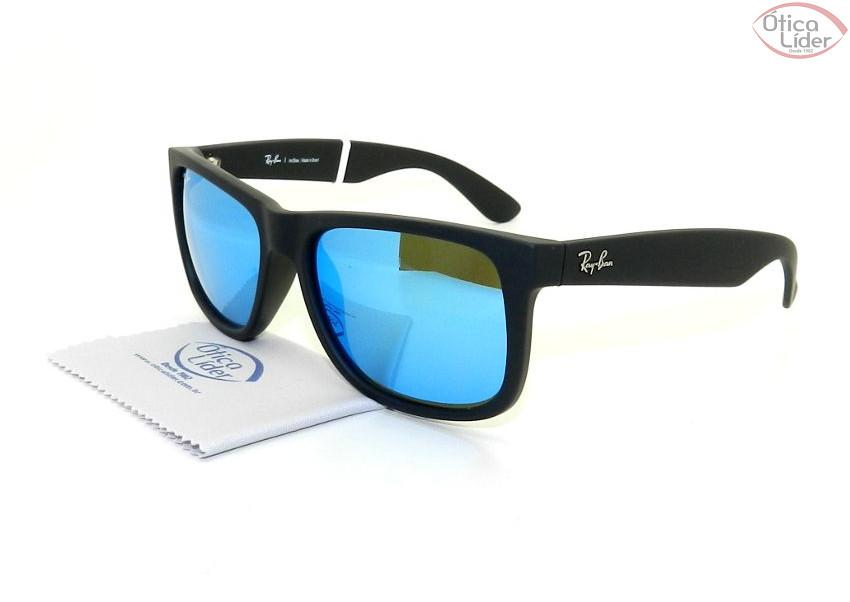 f724172870794 RAY-BAN JUSTIN RB4165L622 55 55 Acetato Preto Espelhado Azul - 12x ...
