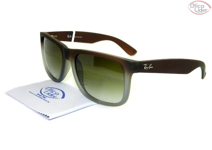 52874122358aa Óculos de Sol RAY-BAN JUSTIN RB4165L 854 7Z 55 Acetato Marrom - 12x ...