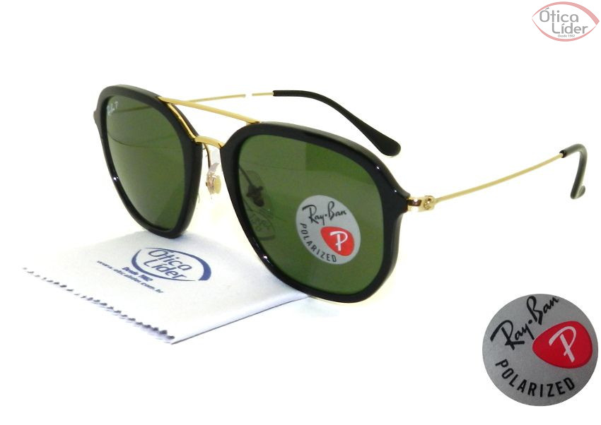 Ray-Ban RB 4273 601 9a 52 Hexagonal Preto   Dourado Polarizado - 12x ... f31ad1cd74