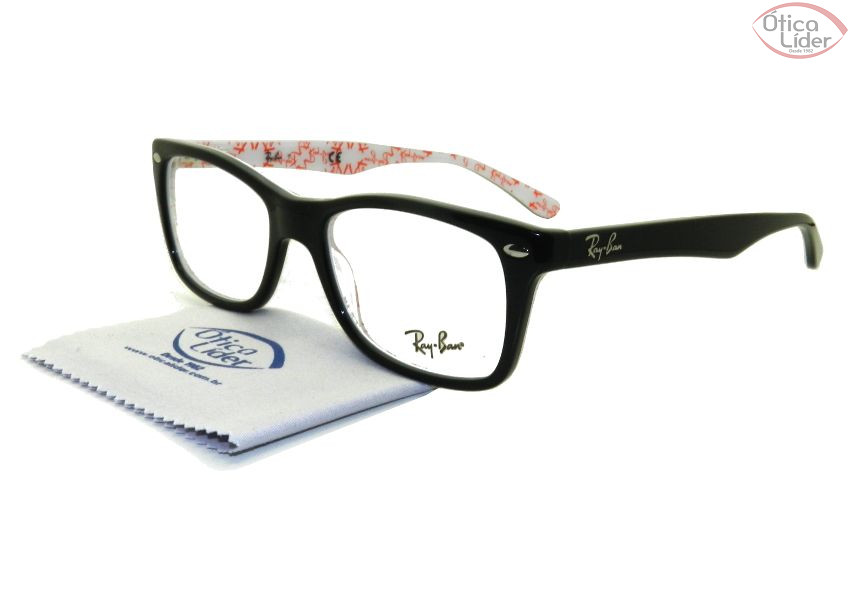 893908f81 Ray-Ban RX5228 5014 50 Acetato Preto / Branco Decorado - 12x sem ...