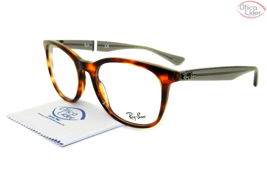 Ray-Ban RX5356 5607 54 Acetato Mesclado / Cinza Transparente
