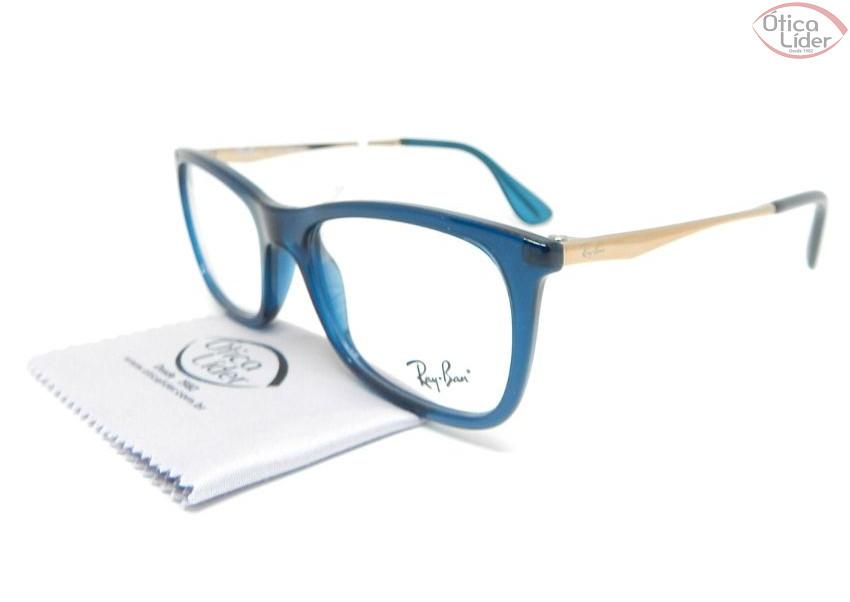Ray-Ban RX7041l 5705 52 Acetato Azul / Metal Dourado