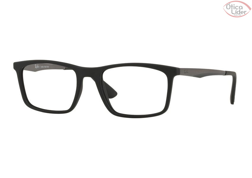 Ray-Ban RX7134l 5826 53 Acetato Preto / Metal Grafite