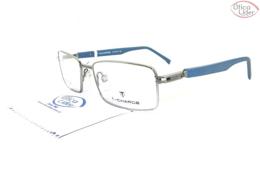 c76fb3af9a5a5 T-Charge TC1115 03g 53 Titanium Prata   Acetato Azul - 12x sem juros ...