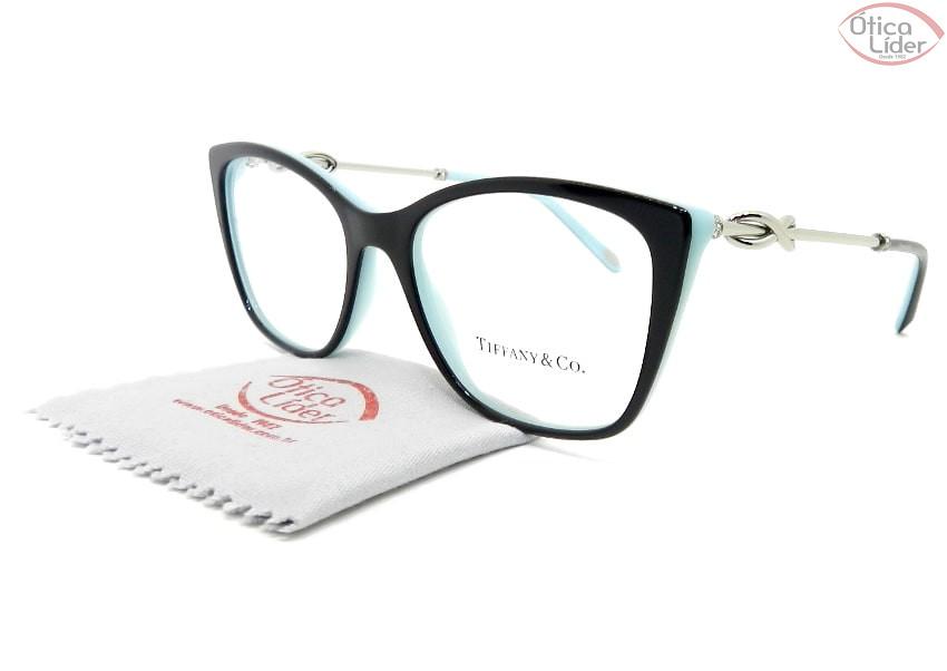 Tiffany & Co. TF2160-b 8055 52 Acetato Preto com Azul / Metal Prata