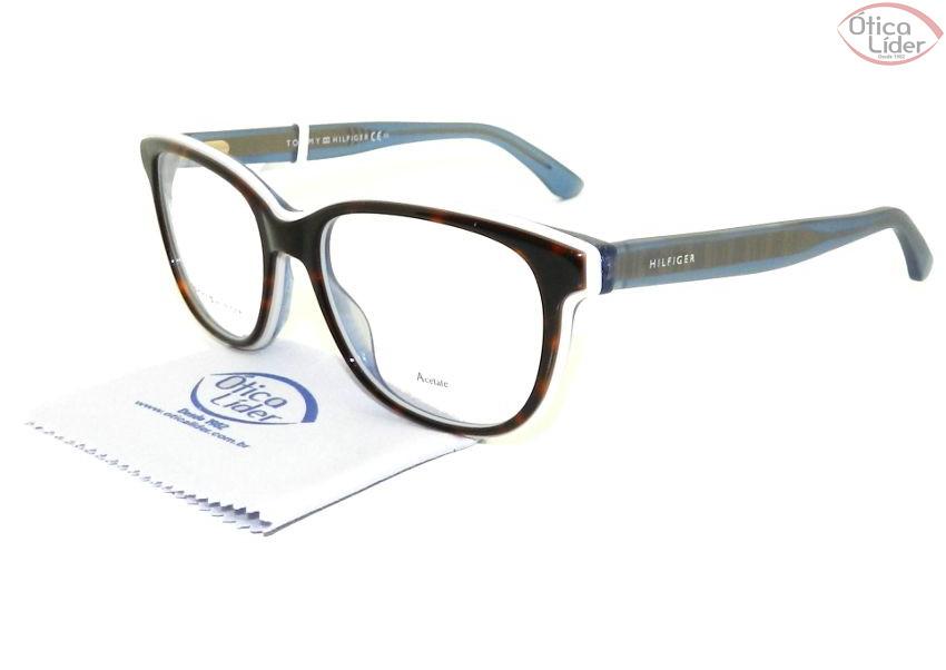8b41a52d61556 Tommy Hilfiger TH1355 k18 52 Acetato Demi   Azul Transparente - 12x ...