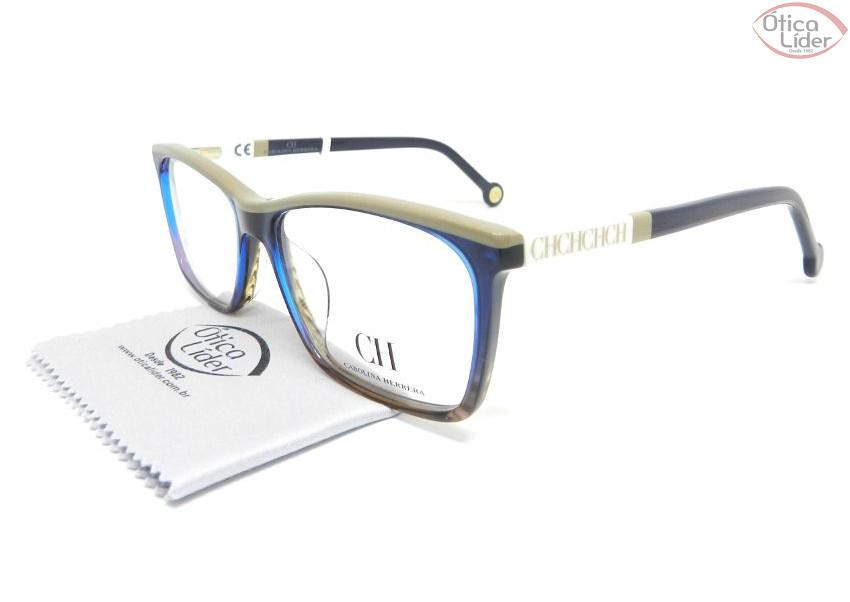 Carolina Herrera VHE586 0m61 54 Acetato Azul   Bege   Branco - 12x ... 65b525a693