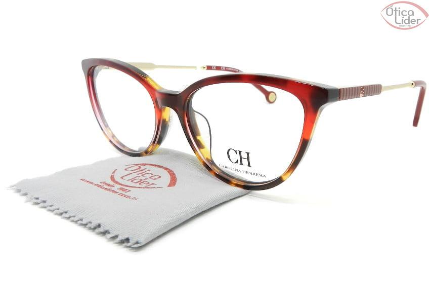 Carolina Herrera VHE817 col.0afg 53 Acetato Vermelho e Mesclado / Metal Dourado