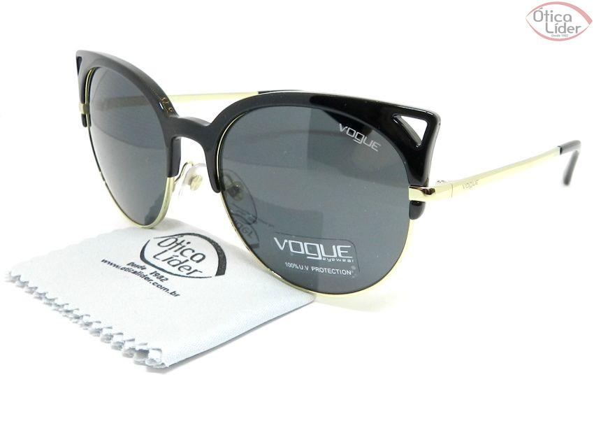 8113f0bbfe6ef Vogue VO 5137s w44 87 55 Acetato Preto   Metal Dourado - 12x sem ...