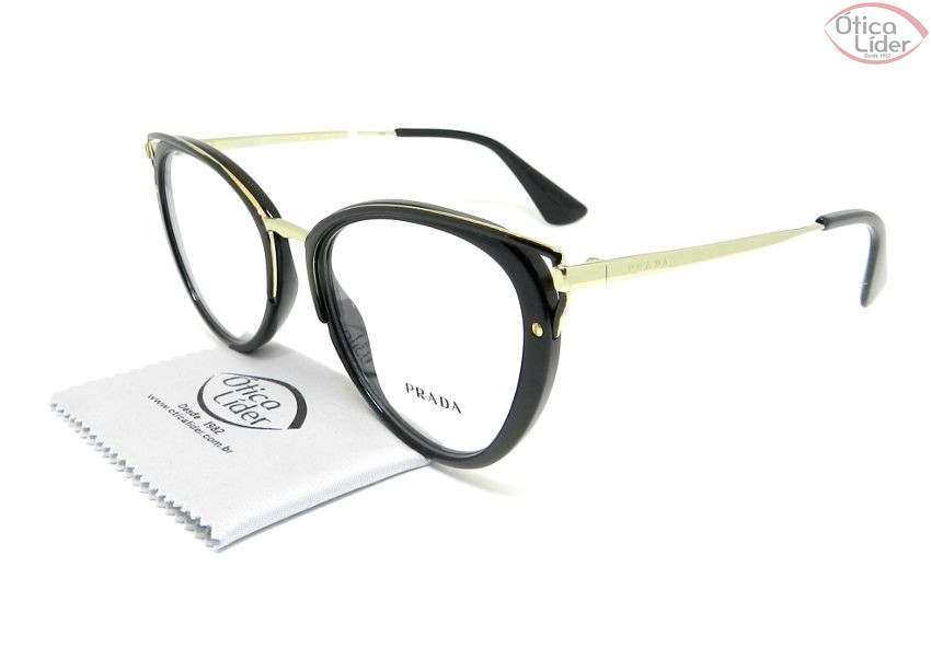 Óculos Prada VPR53u 1ab 1o1 52 Acetato Preto   Metal Dourado - 12x ... 63635f0614