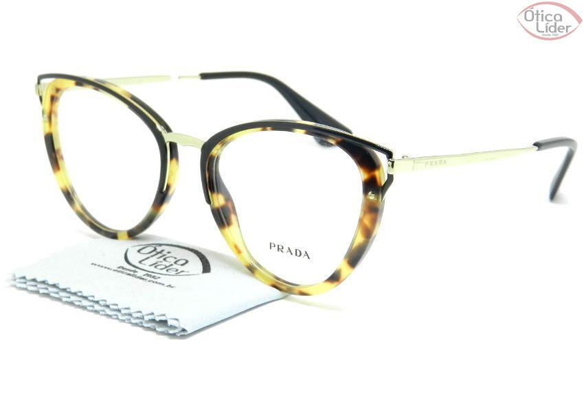 Óculos Prada VPR 53u 7s0 1o1 52 Acetato Mesclado   Metal Dourado ... 5ab87117c0