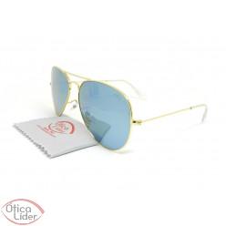 Difaty DF3025 c5 58 Aviador Metal Dourado Espelhado Azul