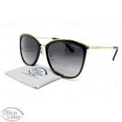 Óculos London LO L632 col.a 58 Acetato Preto / Metal Dourado