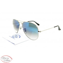 Ray-Ban RB3025l 003/3f 58 Aviador Prata Lente Azul Degradê