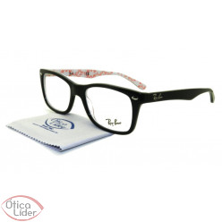 Ray-Ban RX5228 5014 55 Acetato Preto / Branco Decorado