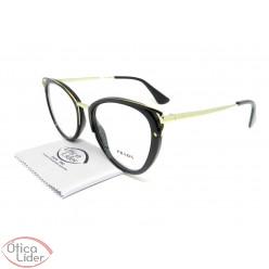 Óculos Prada VPR53u 1ab 1o1 52 Acetato Preto / Metal Dourado