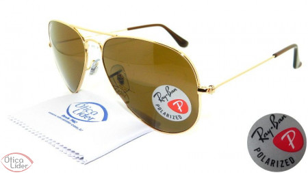 Ray-Ban RB 3025 001 57 58 Aviador Metal Dourado Polarizado 2052cd85fa37e